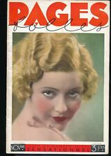 PAGES FOLLES Nov 1933 Spicy Sexy French Pin-Up Girlie Magazine ART DECO Nudes vv