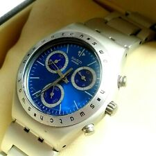 MENS WATCH SWATCH IRONY ALUMINIUM BLUE DIAL CHRONOGRAPH ALL ROUND EX CONDITION