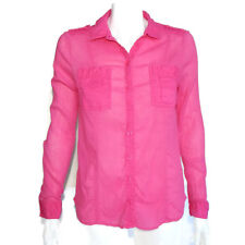EDME & ESYLLTE Vibant Pink Button Front Shirt Epaulet Cotton Top size - 4