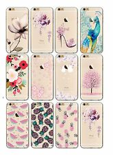 iPhone 7 Soft Silicon Transparent Clear Cover Case Flowers Fruit Watercolour