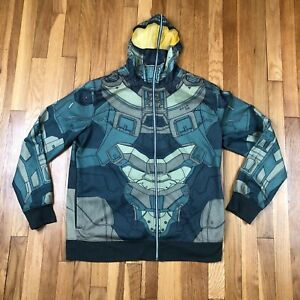 Halo Master Chief Cosplay Full-Zip Hoodie. Green W/ Yellow Mesh Size Youth XL