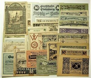 Austria Germany Notgeld Lot of 30 Different Notes #11367