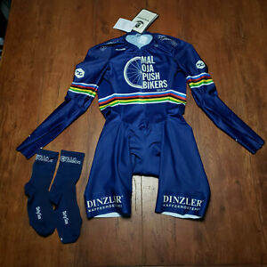 Maloja Pro Cycling Mens Medium M Skinsuit Blue Pushbikers Race Fit Speedsuit