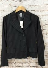 Studio 1940 blazer womens 16 black pinstripe double breasted new suit jacket O1