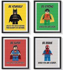 8 Inspirational Superhero Art Print Set Lot Nursery, Bedroom, Playroom Superman+