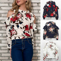 Womens Cold Shoulder Long Sleeve Tunic Shirts Blouse Floral Print Loose T-shirts