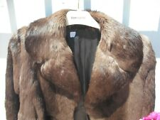 BROWN RABBIT FUR JACKET..SASSY BOXY STYLE...SUPER SOFT & TACTILE.VERY WEARABLE
