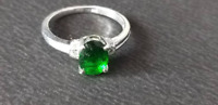 925 Sterling Silver Green Emerald Quartz Round Shape Ring Mother's day