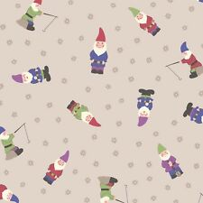 By 1/2 Yard ~ Grandma's Garden Gnomes in Natural by Lewis & Irene Fabric