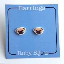 PUG EARRINGS - stud animal pet dog jewellery handmade Sterling Silver