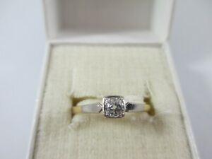 WONDERFUL ANTIQUE 18ct, ART DECO 0.17ct DIAMOND SOLITAIRE RING UK SIZE O  1.8g