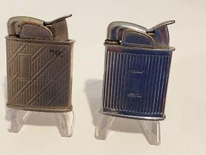 Lot of 2 Vintage 1950's Evans Silver & Chrome Banner Cigarette Lighter Art Deco