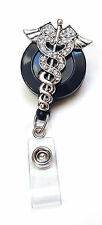 Rhinestone retractable ID badge holder reel - Caduceus Nurse Doctor Symbol