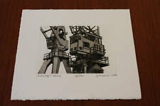Antwerp Cranes an etching by Sidney Hurwitz