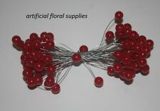 RED 50 wired stems of artificial holly berries 100 plastic berries in total
