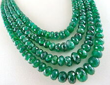 4 LINE 389 CTS NATURAL EMERALD BEADS FACETTED ROUND PRECIOUS GEMSTONE NECKLACE