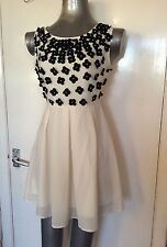 LIPSY, SIZE 10, EUR 44, CREAM & BLACK FLORAL SLEEVELESS CHIFFON DRESS, PRE-LOVED