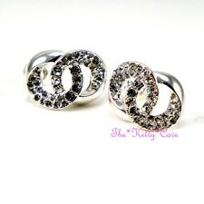 Silver Rodium Plated Twin Link Circle Double Kiss Earrings w/ Swarovski Crystals