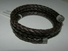 Carolyn Pollack American West Brown Leather Braided Wrap Coil Bracelet