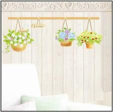 Hanging Green Flower Pot Garden Wall Sticker Decal Vinyl Art Home Decor