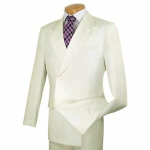 Vinci Men/'s Olive Green Pinstripe Double Breasted 6 Button Classic Fit Suit NEW