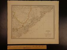 1844 BEAUTIFUL Huge Color MAP of INDIA Circars Orissa Bengal Bay Godavari ATLAS