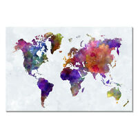 Wall Art Canvas Print World Map Home Decor Painting Picture Abstract Framed