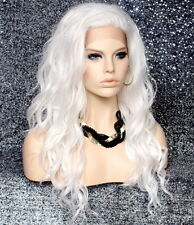 Beach wavy Full Lace Front Wig Heat Resistant Long Hair piece sy White