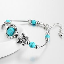 1Pc Turquoise Tibetan Silver Inlay Butterfly Bead Adjustable Bangle Bracelet Hot