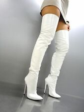 MORI EXTREME HEEL OVERKNEE BOOT STIEFEL STIVALE BOTAS LEATHER WHITE BIANCO 37-45