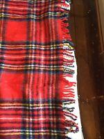 Vintage Royal Stewart All Wool Tartan Picnic Style Fringed Throw/Blanket