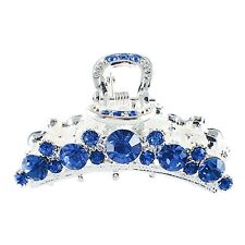 USA Hair Claw Clip Rhinestone Crystal Hairpin Elegant Jeweled Silver Blue New 1
