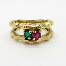 Antique Vintage Estate 18K Yellow Gold  Emerald and Ruby Ring