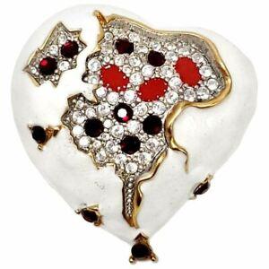 KJL Kenneth Jay Lane Embellished Jeweled Heart in White Enamel and Gold
