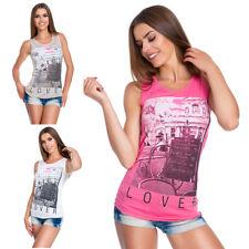 Ladies Casual Sleeveless Vest Top Womens Crew Neck Print Paris T-Shirt S-L FB284