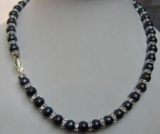 18'AAA 9-10mm natural tahitian black pearl necklace 14K gold