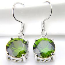 Woman Natural Olive Peridot Gems 925 Sterling Silver Plated Dangle Hook Earrings