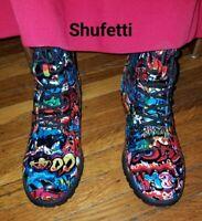 Shufetti Graffiti Boots Shoes For Women  Rubber Bottom Laces Size Side Zipper