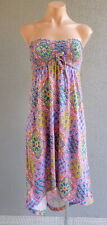 ❤️ BILLABONG Summer Strapless Dress Multicolor Print Size 8 Buy7=FreePost L597