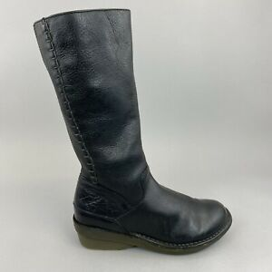 Rare Dr Martens 11988 Black Leather Mid Calf Zip Up Wedge Boho Boots Size 36 UK3