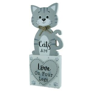 Cat Plaque Cats Are Love On Four Legs Sign Free Standing Crazy Cat Lady Grey