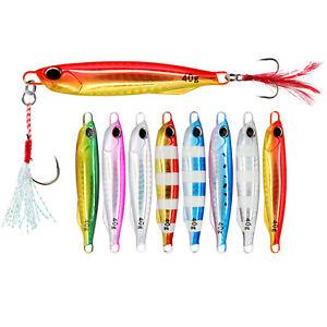 5PCS Slow Jig  Deep sea Fishing Jigging Glow Zebra Spoon Lure Hook 30/40/60g