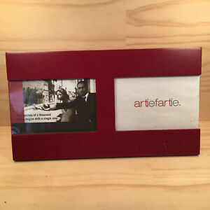 """ARTIE FARTIE """"Burgundy Red"""" Beautiful Double Picture Wooden Photo Frame Ornament"""