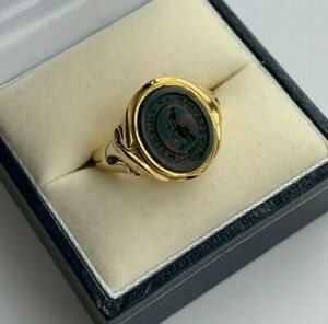 SUPERB Men's Gents Antique 18ct Gold Signet Bloodstone Seal Ring London 1921
