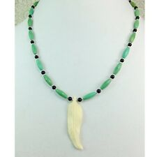 Carved Bone Feather Pendant with Dyed Magnesite & Black Beads Necklace Choker