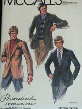 Amazing VTG 81 McCALLS 2847 Mens Lined Jackets by Palmer/Pletsch PATTERN 44C/39W