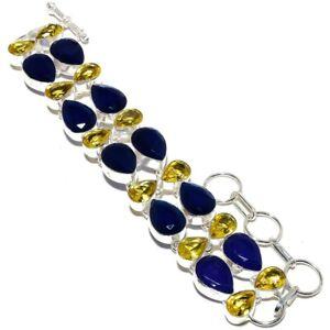 "Blue Sapphire, Citrine Gemstone Silver Jewelry Bracelet 7-8"" SMQ-190"
