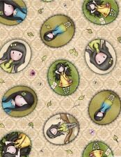 Birds of a Feather Girl Patches Santoro Gorjuss Beige Cotton fabric by the yard