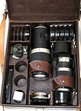 Lot of 3 1945/1946 Leitz Leica Lenses with Leather Case and Accessories