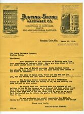 GRAPHIC 1914 LETTERHEAD KANSAS CITY MISSOURI BUNTING STONE HARDWARE CO
